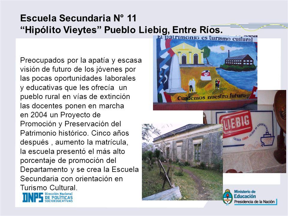 Escuela Secundaria N° 11 Hipólito Vieytes Pueblo Liebig, Entre Ríos. Preocupados por la apatía y escasa visión de futuro de los jóvenes por las pocas