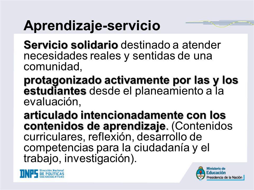 Servicio solidario Servicio solidario destinado a atender necesidades reales y sentidas de una comunidad, protagonizado activamente por las y los estu