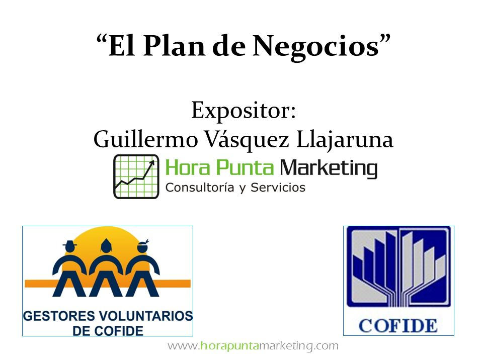 El Plan de Negocios Expositor: Guillermo Vásquez Llajaruna www.horapuntamarketing.com