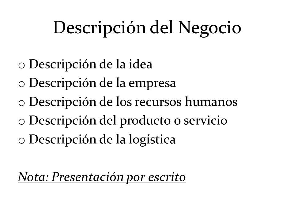 Descripción del Negocio o Descripción de la idea o Descripción de la empresa o Descripción de los recursos humanos o Descripción del producto o servic