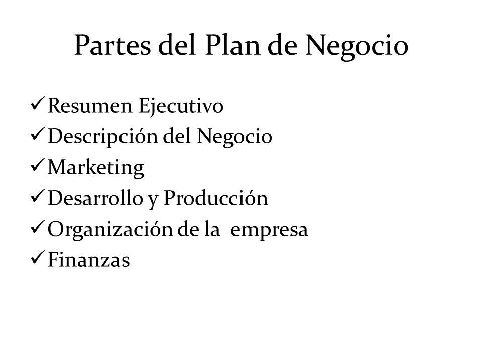 Partes del Plan de Negocio Resumen Ejecutivo Descripción del Negocio Marketing Desarrollo y Producción Organización de la empresa Finanzas