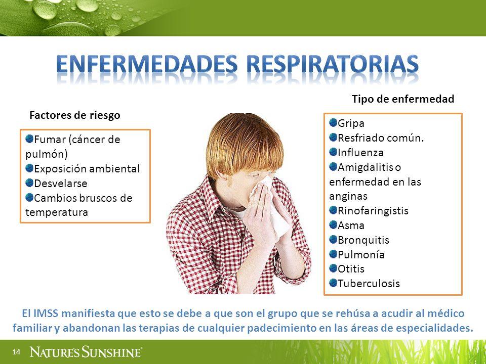 14 Fumar (cáncer de pulmón) Exposición ambiental Desvelarse Cambios bruscos de temperatura Factores de riesgo El IMSS manifiesta que esto se debe a qu
