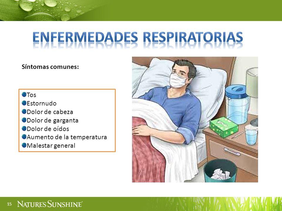 15 Tos Estornudo Dolor de cabeza Dolor de garganta Dolor de oídos Aumento de la temperatura Malestar general Síntomas comunes: