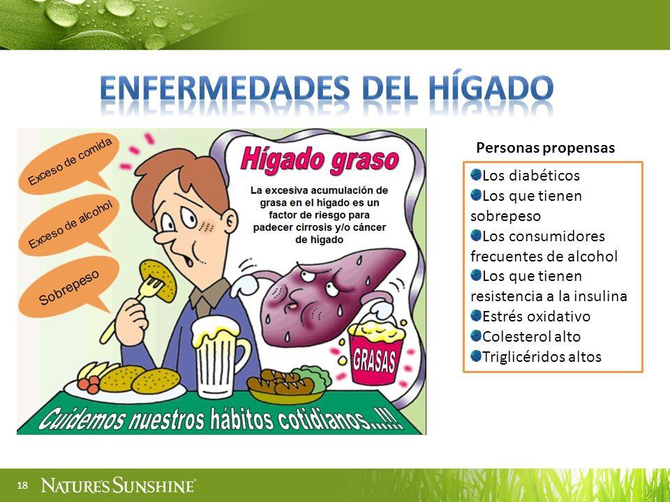 18 Los diabéticos Los que tienen sobrepeso Los consumidores frecuentes de alcohol Los que tienen resistencia a la insulina Estrés oxidativo Colesterol