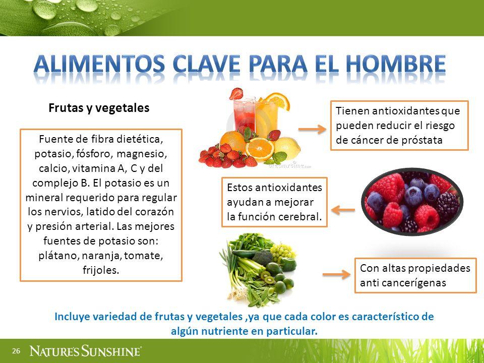 26 Frutas y vegetales Fuente de fibra dietética, potasio, fósforo, magnesio, calcio, vitamina A, C y del complejo B. El potasio es un mineral requerid