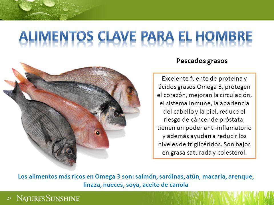27 Pescados grasos Excelente fuente de proteína y ácidos grasos Omega 3, protegen el corazón, mejoran la circulación, el sistema inmune, la apariencia
