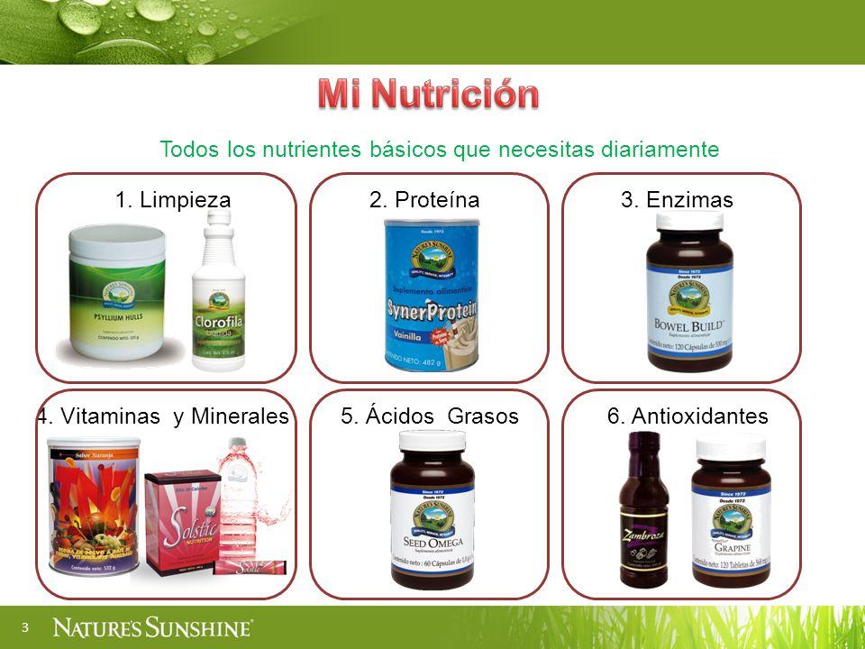 3 1. Limpieza2. Proteína3. Enzimas 4. Vitaminas y Minerales5. Ácidos Grasos6. Antioxidantes Todos los nutrientes básicos que necesitas diariamente