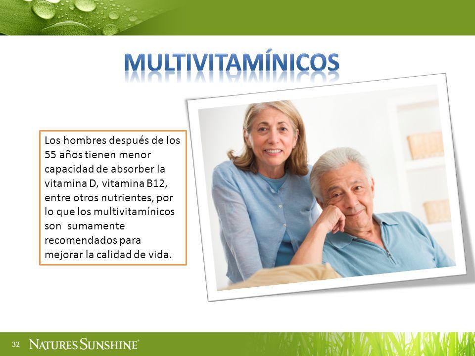 32 Los hombres después de los 55 años tienen menor capacidad de absorber la vitamina D, vitamina B12, entre otros nutrientes, por lo que los multivita
