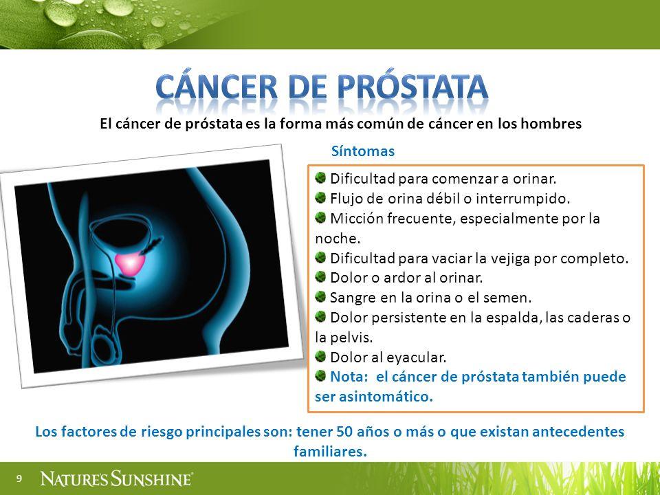 9 El cáncer de próstata es la forma más común de cáncer en los hombres Dificultad para comenzar a orinar. Flujo de orina débil o interrumpido. Micción