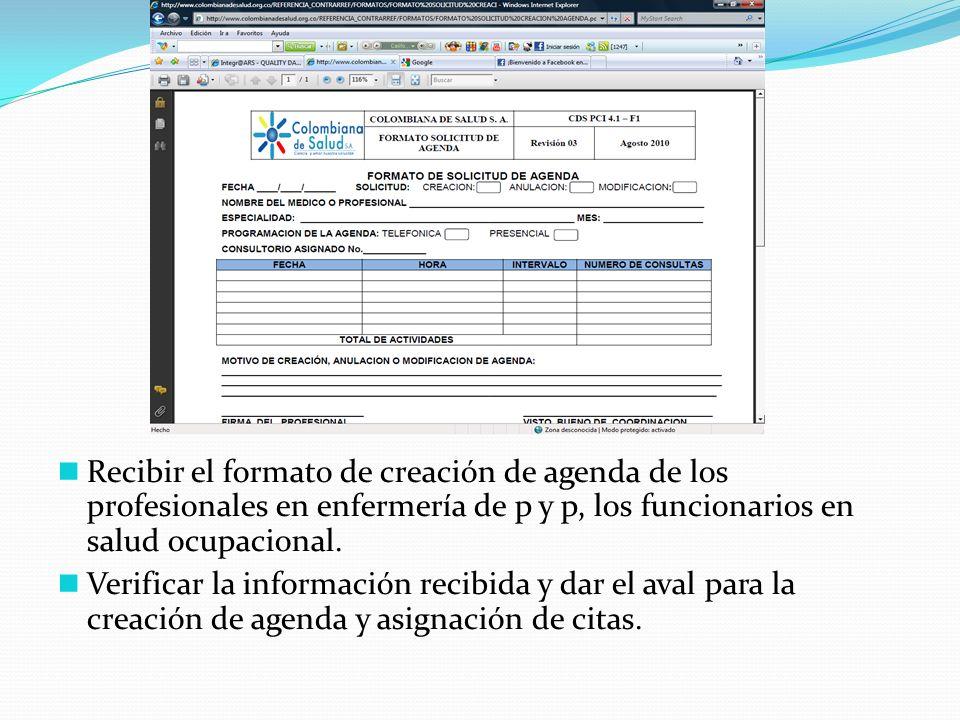 Recibir el formato de creación de agenda de los profesionales en enfermería de p y p, los funcionarios en salud ocupacional. Verificar la información