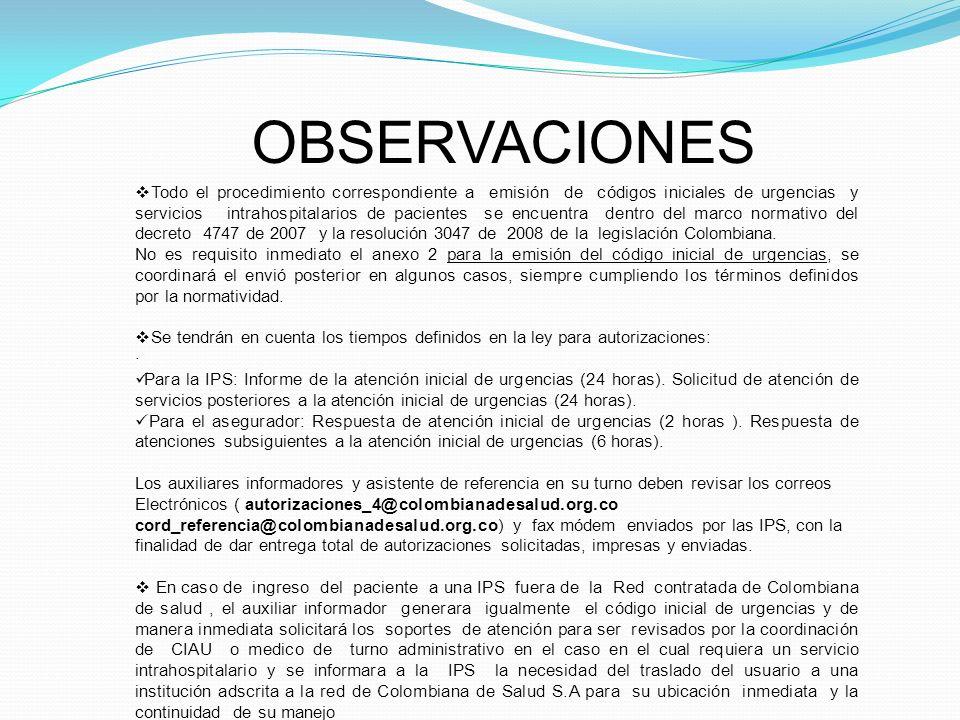 OBSERVACIONES Todo el procedimiento correspondiente a emisión de códigos iniciales de urgencias y servicios intrahospitalarios de pacientes se encuent