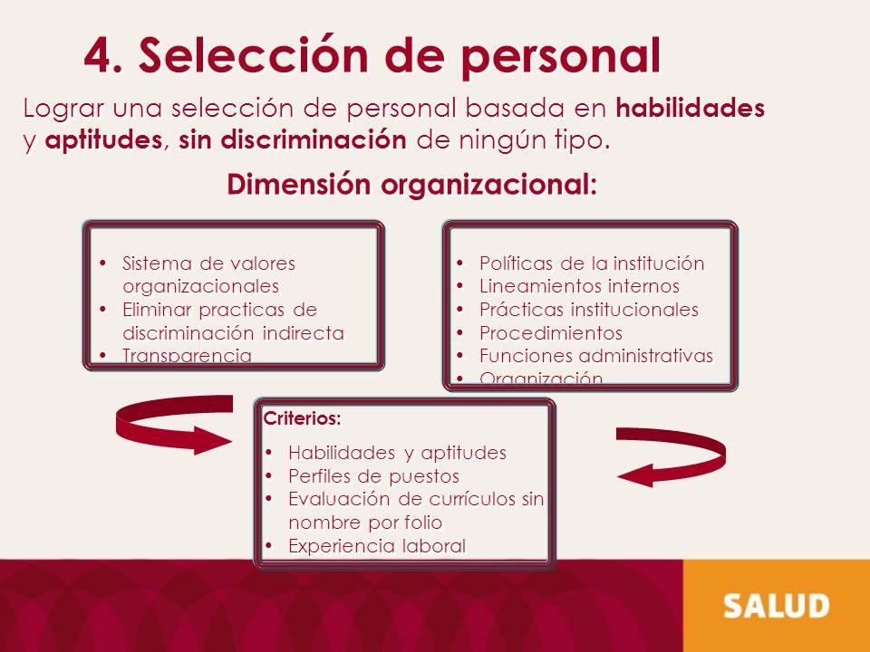 Dimensión organizacional: Criterios: Habilidades y aptitudes Perfiles de puestos Evaluación de currículos sin nombre por folio Experiencia laboral Cri