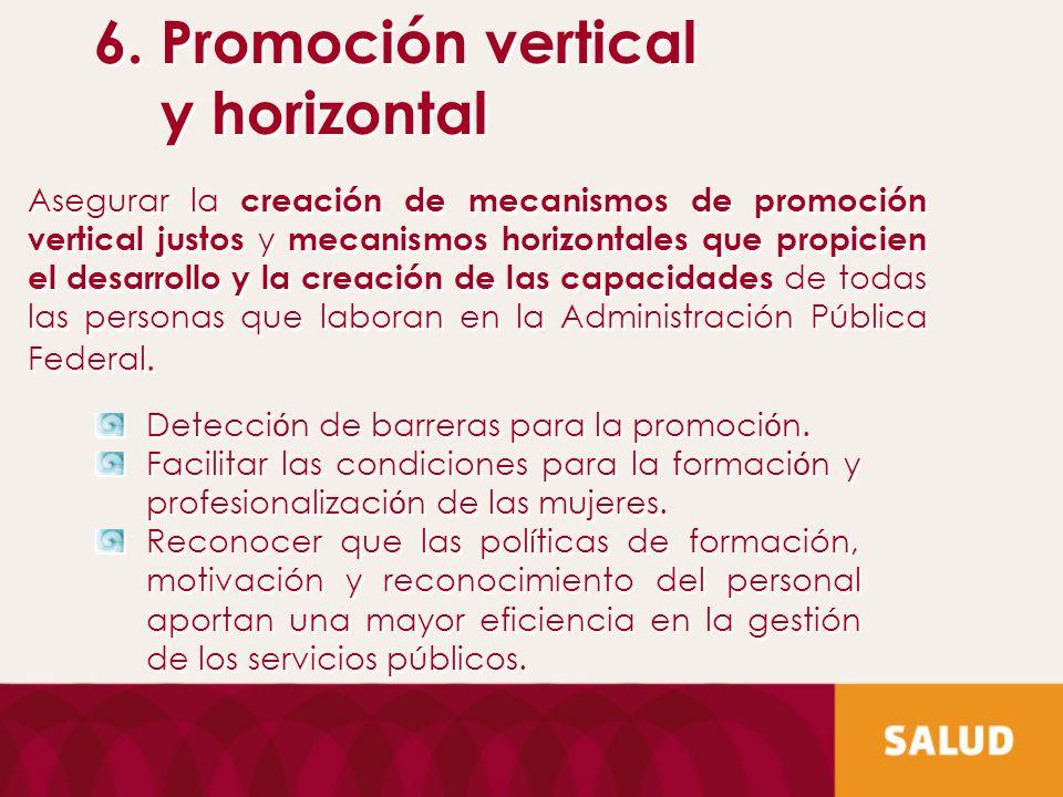 6. Promoción vertical y horizontal 6. Promoción vertical y horizontal Asegurar la creación de mecanismos de promoción vertical justos y mecanismos hor