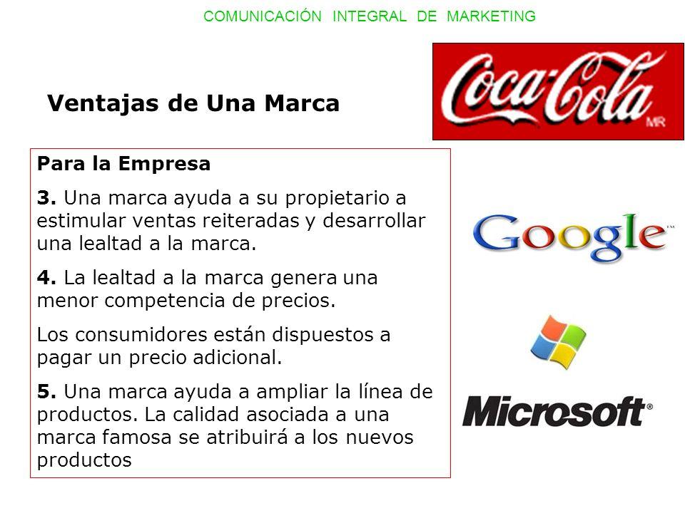 COMUNICACIÓN INTEGRAL DE MARKETING Ventajas de Una Marca Para la Empresa 3. Una marca ayuda a su propietario a estimular ventas reiteradas y desarroll