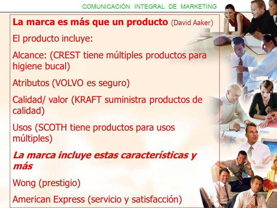 La marca es más que un producto (David Aaker) El producto incluye: Alcance: (CREST tiene múltiples productos para higiene bucal) Atributos (VOLVO es s