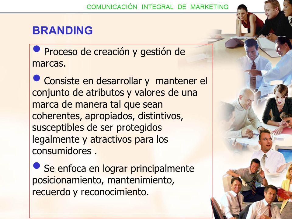 BRANDING Proceso de creación y gestión de marcas. Consiste en desarrollar y mantener el conjunto de atributos y valores de una marca de manera tal que