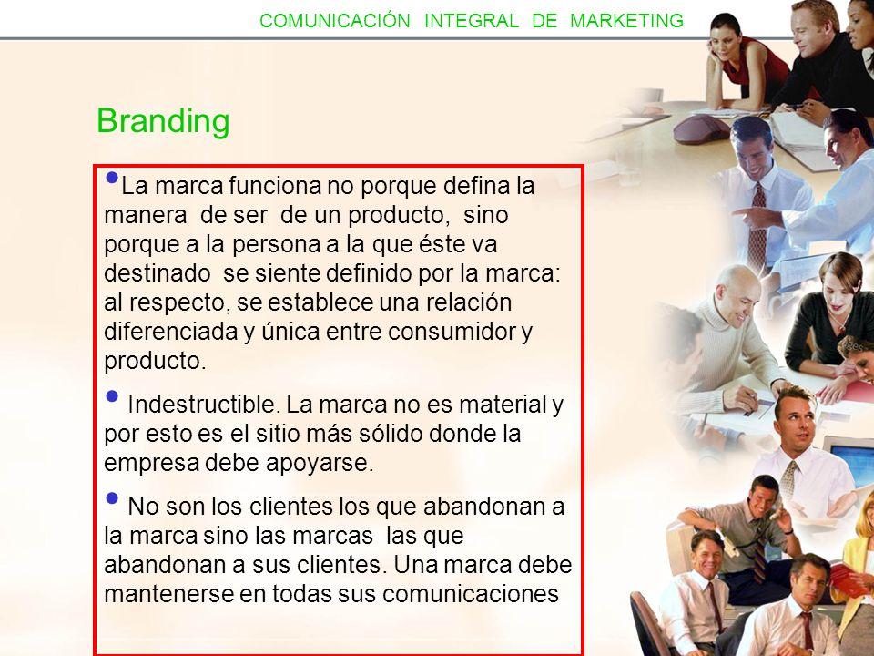 La marca es más que un producto (David Aaker) El producto incluye: Alcance: (CREST tiene múltiples productos para higiene bucal) Atributos (VOLVO es seguro) Calidad/ valor (KRAFT suministra productos de calidad) Usos (SCOTH tiene productos para usos múltiples) La marca incluye estas características y más Wong (prestigio) American Express (servicio y satisfacción) COMUNICACIÓN INTEGRAL DE MARKETING