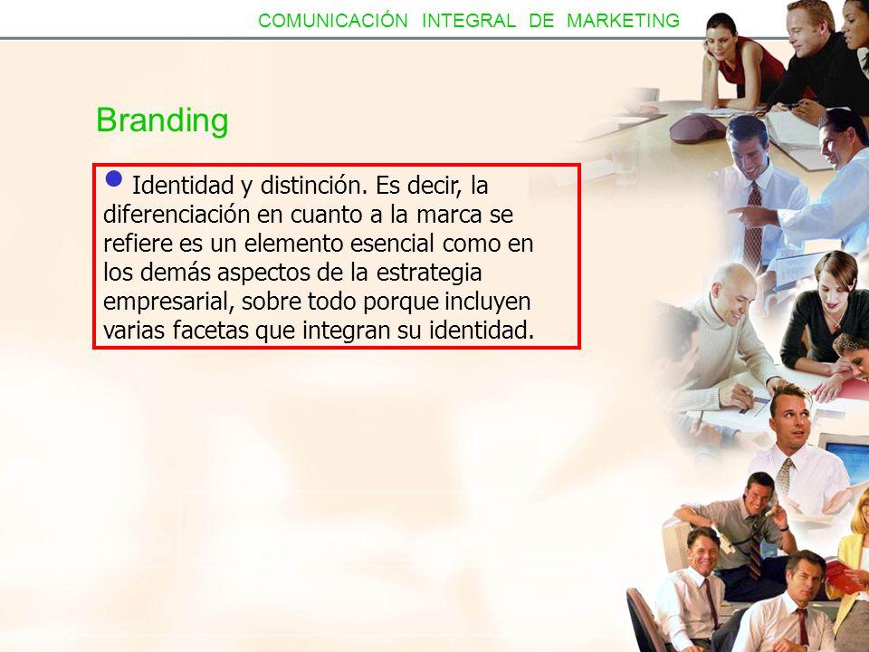 Branding Identidad y distinción. Es decir, la diferenciación en cuanto a la marca se refiere es un elemento esencial como en los demás aspectos de la