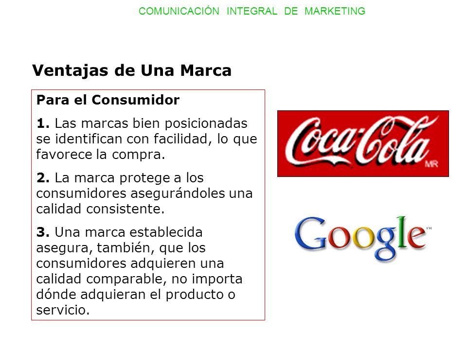 COMUNICACIÓN INTEGRAL DE MARKETING Ventajas de Una Marca Para el Consumidor 4.