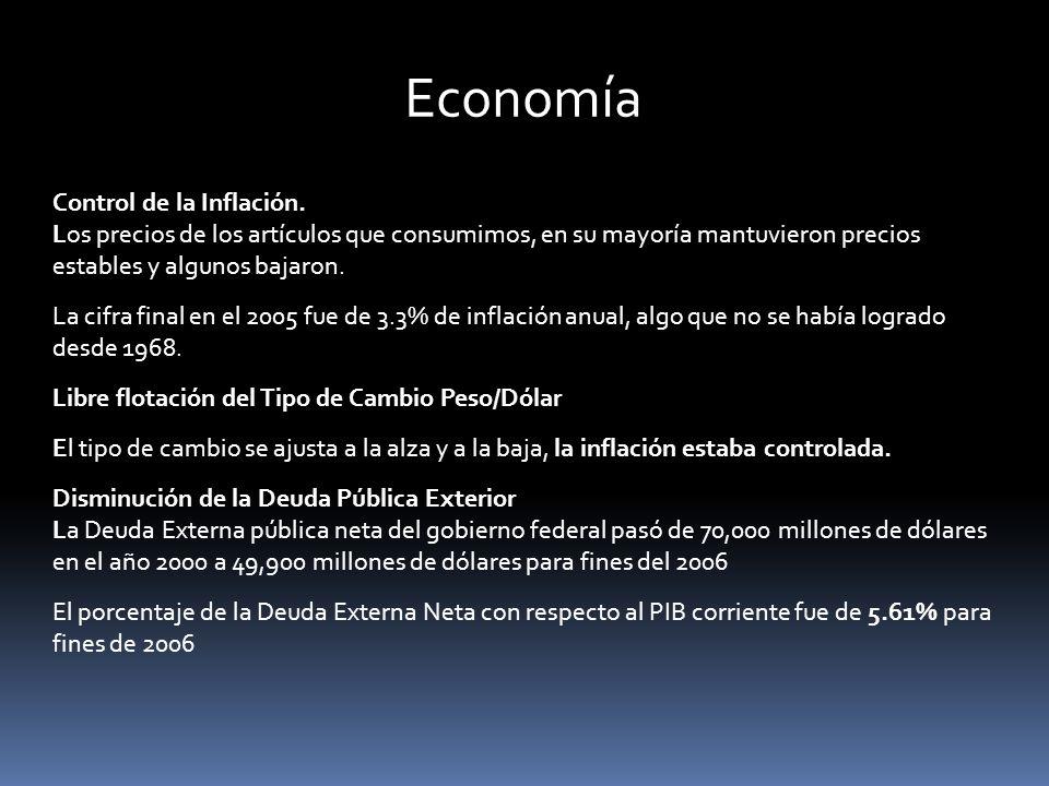 Economía Control de la Inflación. Los precios de los artículos que consumimos, en su mayoría mantuvieron precios estables y algunos bajaron. La cifra