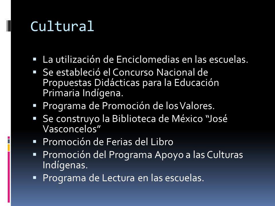 Cultural La utilización de Enciclomedias en las escuelas. Se estableció el Concurso Nacional de Propuestas Didácticas para la Educación Primaria Indíg