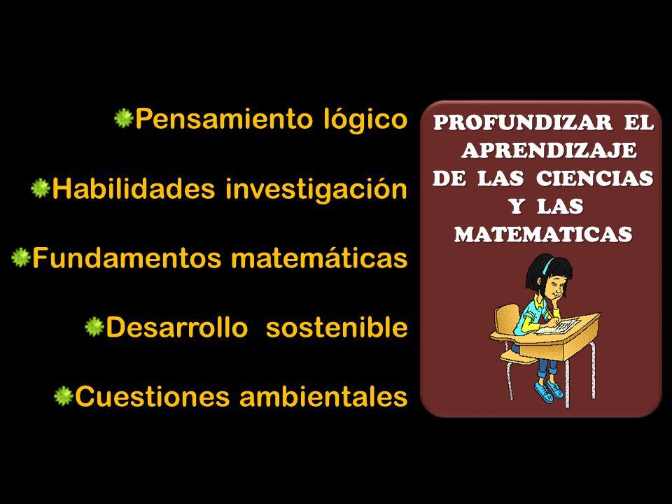 PROFUNDIZAR EL APRENDIZAJE APRENDIZAJE DE LAS CIENCIAS Y LAS Y LASMATEMATICAS Pensamiento lógico Habilidades investigación Fundamentos matemáticas Desarrollo sostenible Cuestiones ambientales