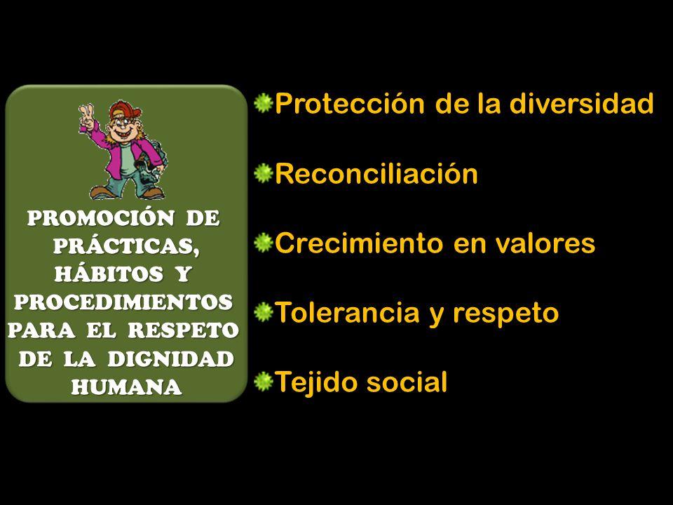 PROMOCIÓN DE PRÁCTICAS, PRÁCTICAS, HÁBITOS Y PROCEDIMIENTOS PARA EL RESPETO DE LA DIGNIDAD DE LA DIGNIDAD HUMANA HUMANA Protección de la diversidad Reconciliación Crecimiento en valores Tolerancia y respeto Tejido social