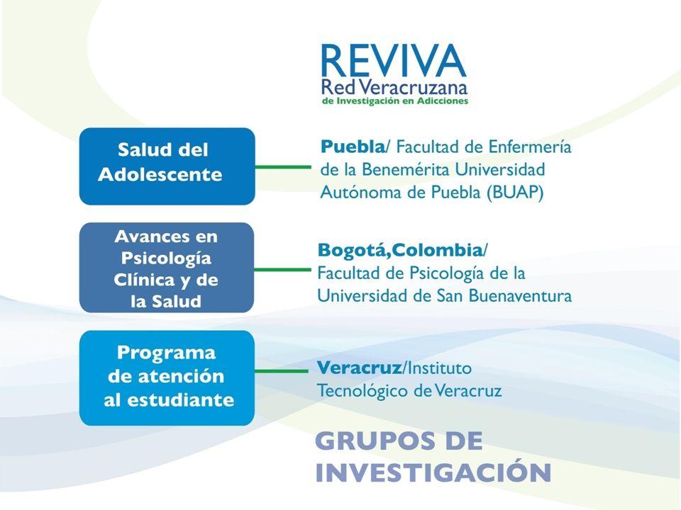 PROYECTO COMÚN DE CUERPOS ACADÉMICOS PROYECTO COMÚN DE CUERPOS ACADÉMICOS ONU (OMS, OPS, UNODC) UNIVERSIDADES SALUDABLES CONADIC PIFI Universidad Veracruzana Eje 6 del Programa de Desarrollo 2009-2013: Atención Integral del Estudiante Coordinación del Programa de Capacitación e Investigación en Prevención y Tratamiento de las Adicciones ONU (OMS, OPS, UNODC) UNIVERSIDADES SALUDABLES CONADIC PIFI Universidad Veracruzana Eje 6 del Programa de Desarrollo 2009-2013: Atención Integral del Estudiante Coordinación del Programa de Capacitación e Investigación en Prevención y Tratamiento de las Adicciones Diagnóstico del Consumo de Drogas, Factores y Percepción de riesgo en estudiantes de la Universidad Veracruzana: Evidencias para Desarrollar Estrategias de Prevención Diagnóstico del Consumo de Drogas, Factores y Percepción de riesgo en estudiantes de la Universidad Veracruzana: Evidencias para Desarrollar Estrategias de Prevención