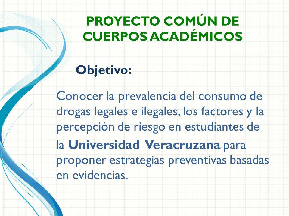 Conocer la prevalencia del consumo de drogas legales e ilegales, los factores y la percepción de riesgo en estudiantes de la Universidad Veracruzana para proponer estrategias preventivas basadas en evidencias.