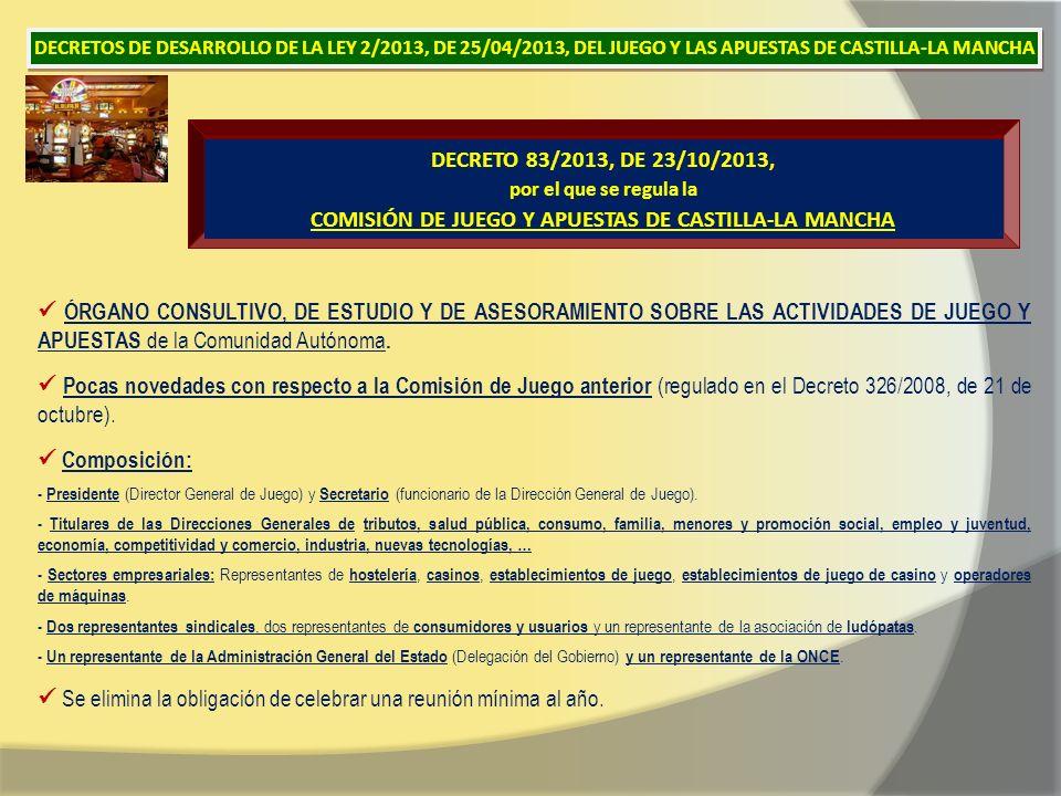 DECRETO 83/2013, DE 23/10/2013, por el que se regula la COMISIÓN DE JUEGO Y APUESTAS DE CASTILLA-LA MANCHA ÓRGANO CONSULTIVO, DE ESTUDIO Y DE ASESORAMIENTO SOBRE LAS ACTIVIDADES DE JUEGO Y APUESTAS de la Comunidad Autónoma.