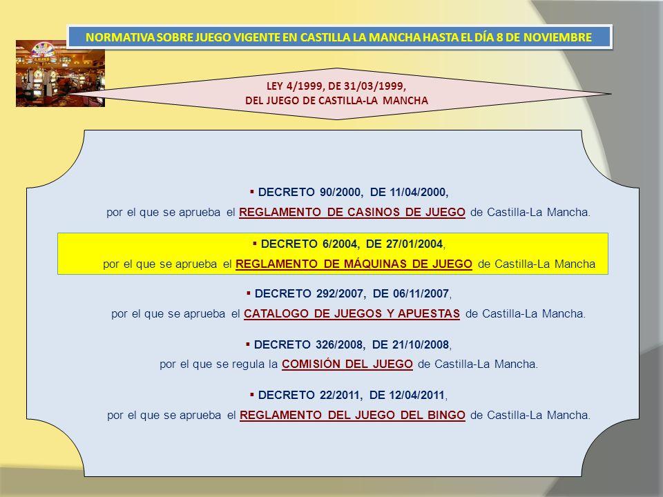 NORMATIVA SOBRE JUEGO VIGENTE EN CASTILLA LA MANCHA HASTA EL DÍA 8 DE NOVIEMBRE DECRETO 90/2000, DE 11/04/2000, por el que se aprueba el REGLAMENTO DE CASINOS DE JUEGO de Castilla-La Mancha.