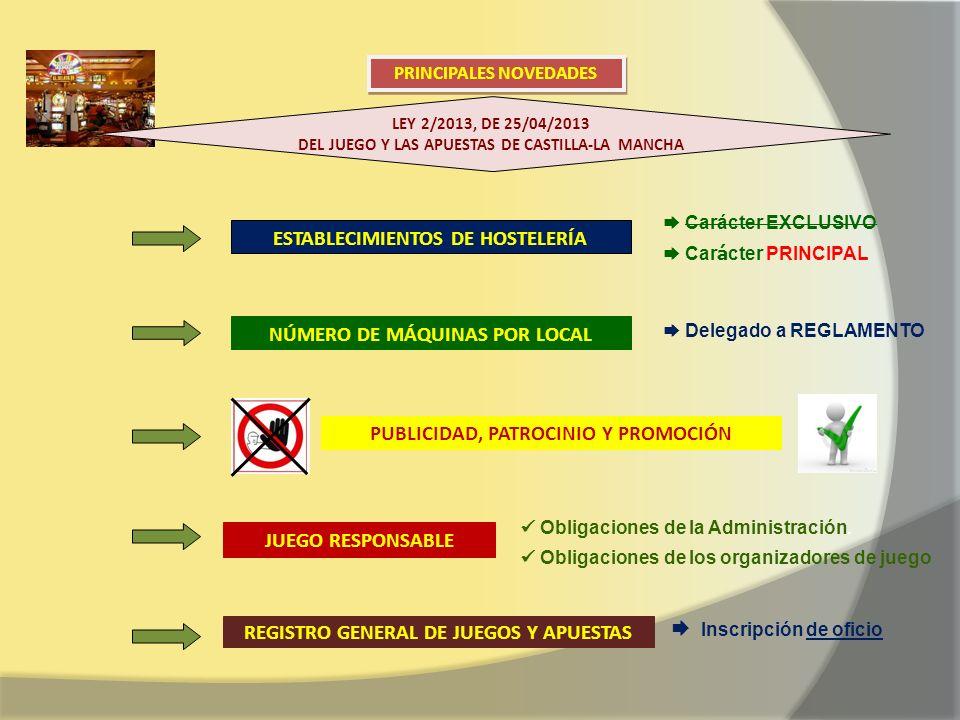 ESTABLECIMIENTOS DE HOSTELERÍA Carácter EXCLUSIVO Car á cter PRINCIPAL NÚMERO DE MÁQUINAS POR LOCAL Delegado a REGLAMENTO PUBLICIDAD, PATROCINIO Y PROMOCIÓN JUEGO RESPONSABLE Obligaciones de la Administración.