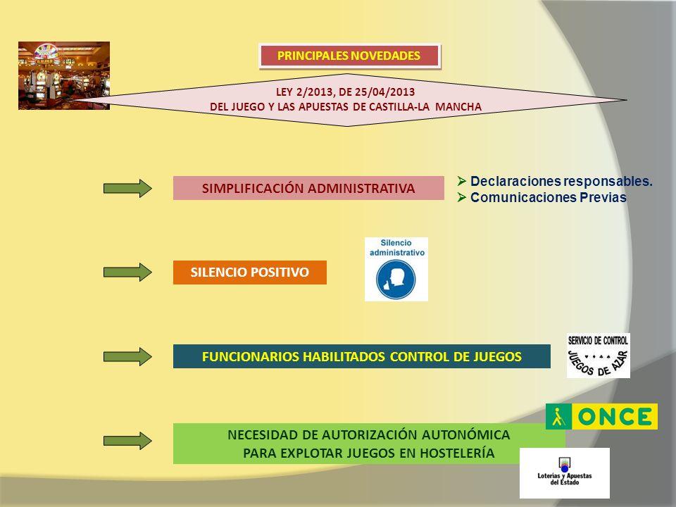 LEY 2/2013, DE 25/04/2013 DEL JUEGO Y LAS APUESTAS DE CASTILLA-LA MANCHA PRINCIPALES NOVEDADES SIMPLIFICACIÓN ADMINISTRATIVA Declaraciones responsable
