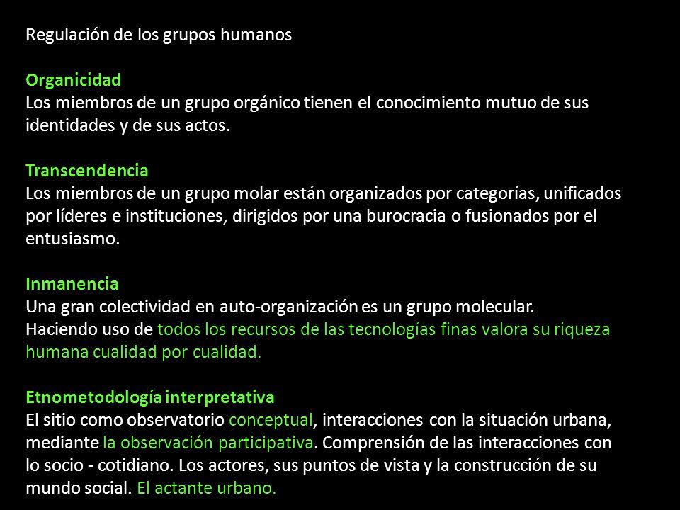 Regulación de los grupos humanos Organicidad Los miembros de un grupo orgánico tienen el conocimiento mutuo de sus identidades y de sus actos. Transce