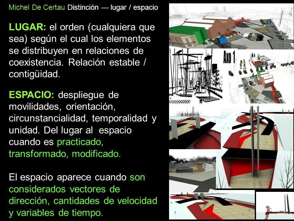 Michel De Certau Distinción --- lugar / espacio LUGAR: el orden (cualquiera que sea) según el cual los elementos se distribuyen en relaciones de coexi