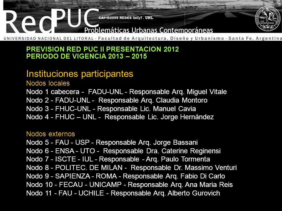 PREVISION RED PUC II PRESENTACION 2012 PERIODO DE VIGENCIA 2013 – 2015 Instituciones participantes Nodos locales Nodo 1 cabecera - FADU-UNL - Responsa