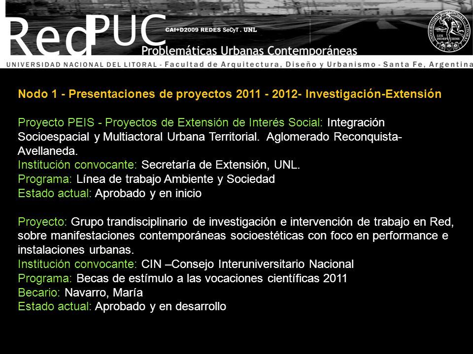 Nodo 1 - Presentaciones de proyectos 2011 - 2012- Investigación-Extensión Proyecto: Seminario de Posgrado Filosofía, Arquitectura y Ciudad.