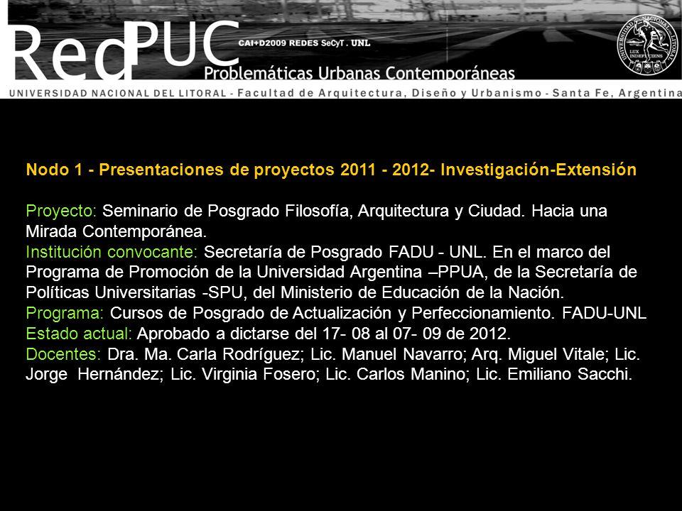 Nodo 1 - Presentaciones de proyectos 2011 - 2012- Investigación-Extensión Proyecto: Seminario de Posgrado Filosofía, Arquitectura y Ciudad. Hacia una
