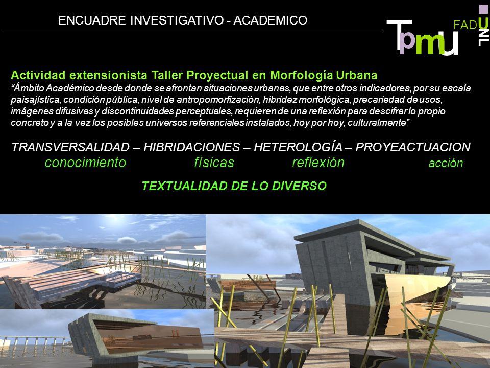 Actividad extensionista Taller Proyectual en Morfología Urbana Ámbito Académico desde donde se afrontan situaciones urbanas, que entre otros indicador