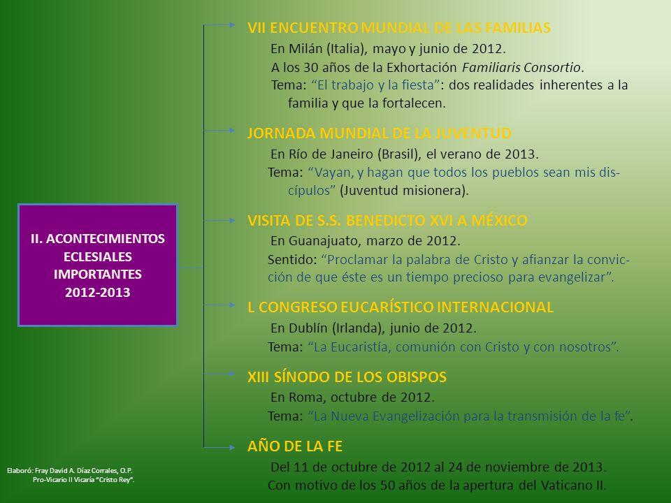 II. ACONTECIMIENTOS ECLESIALES IMPORTANTES 2012-2013 VII ENCUENTRO MUNDIAL DE LAS FAMILIAS En Milán (Italia), mayo y junio de 2012. A los 30 años de l