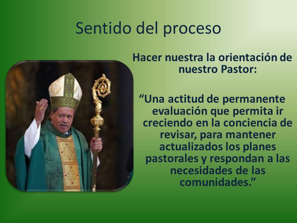 Sentido del proceso Hacer nuestra la orientación de nuestro Pastor: Una actitud de permanente evaluación que permita ir creciendo en la conciencia de