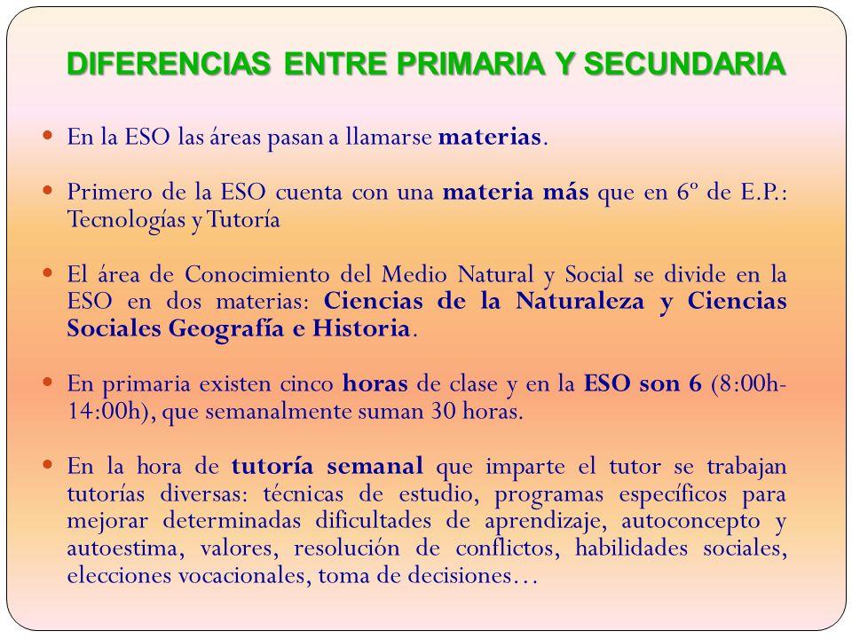 DIFERENCIAS ENTRE PRIMARIA Y SECUNDARIA En la ESO las áreas pasan a llamarse materias.