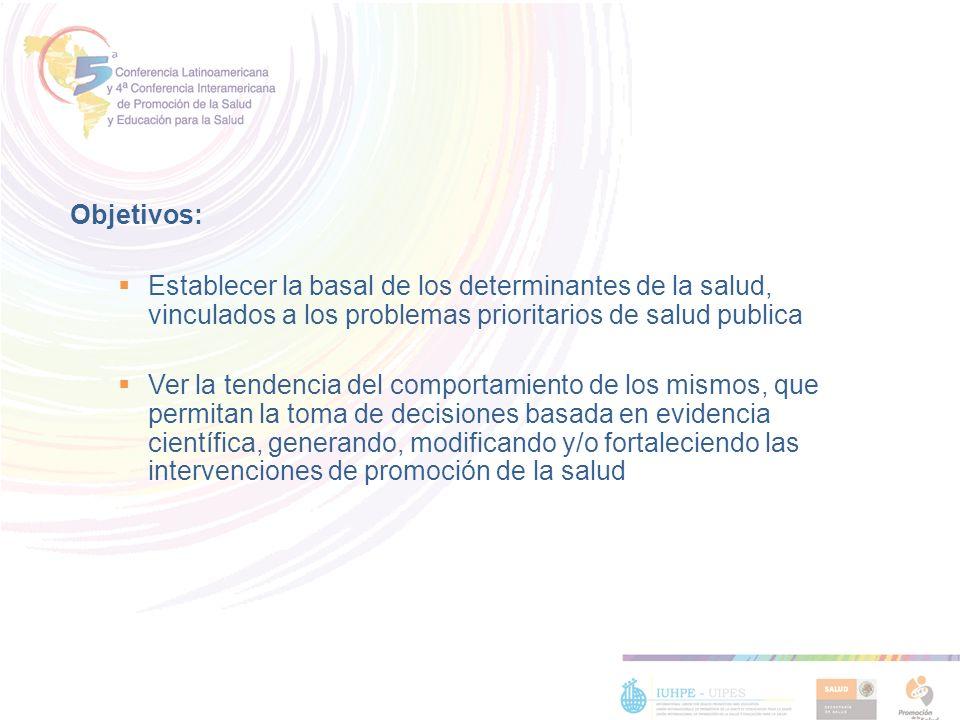 Objetivos: Establecer la basal de los determinantes de la salud, vinculados a los problemas prioritarios de salud publica Ver la tendencia del comport