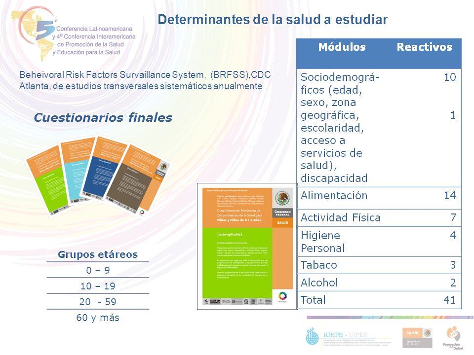 Grupos etáreos 0 – 9 10 – 19 20 - 59 60 y más Cuestionarios finales Beheivoral Risk Factors Survaillance System, (BRFSS),CDC Atlanta, de estudios tran