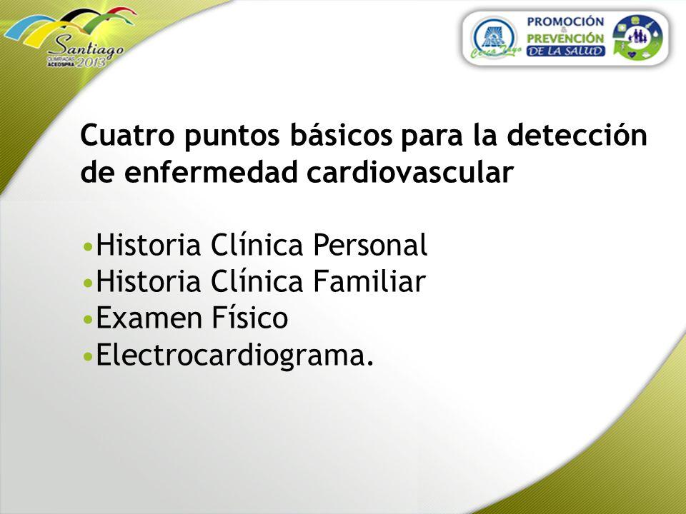 Cuatro puntos básicos para la detección de enfermedad cardiovascular Historia Clínica Personal Historia Clínica Familiar Examen Físico Electrocardiogr
