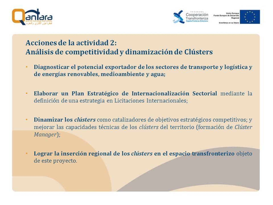 Diagnosticar el potencial exportador de los sectores de transporte y logística y de energías renovables, medioambiente y agua; Elaborar un Plan Estratégico de Internacionalización Sectorial mediante la definición de una estrategia en Licitaciones Internacionales; Dinamizar los clústers como catalizadores de objetivos estratégicos competitivos; y mejorar las capacidades técnicas de los clústers del territorio (formación de Clúster Manager); Lograr la inserción regional de los clústers en el espacio transfronterizo objeto de este proyecto.