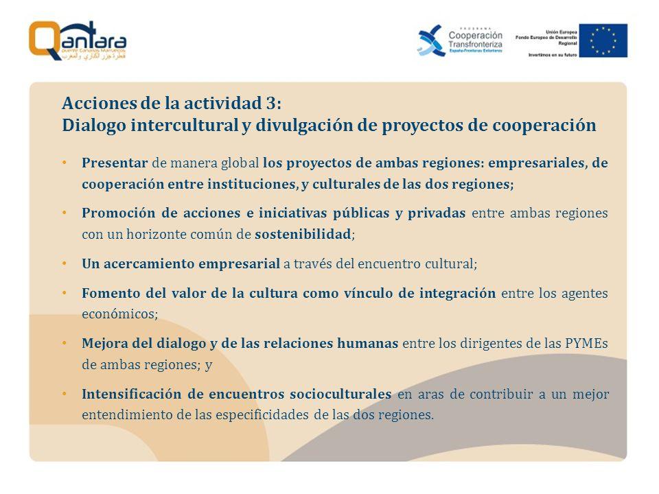 Presentar de manera global los proyectos de ambas regiones: empresariales, de cooperación entre instituciones, y culturales de las dos regiones; Promo