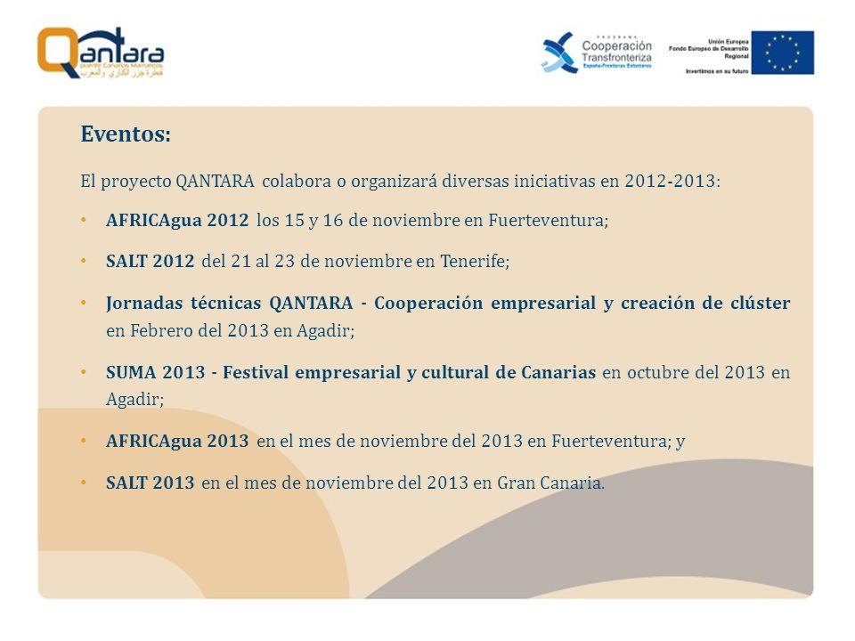 El proyecto QANTARA colabora o organizará diversas iniciativas en 2012-2013: AFRICAgua 2012 los 15 y 16 de noviembre en Fuerteventura; SALT 2012 del 21 al 23 de noviembre en Tenerife; Jornadas técnicas QANTARA - Cooperación empresarial y creación de clúster en Febrero del 2013 en Agadir; SUMA 2013 - Festival empresarial y cultural de Canarias en octubre del 2013 en Agadir; AFRICAgua 2013 en el mes de noviembre del 2013 en Fuerteventura; y SALT 2013 en el mes de noviembre del 2013 en Gran Canaria.