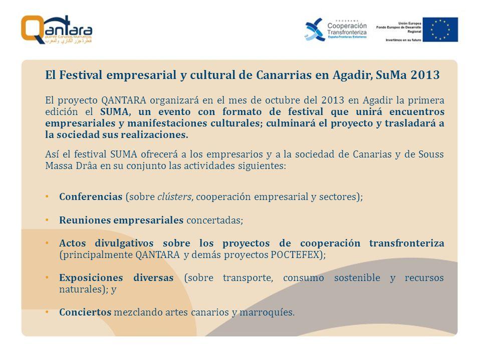 El proyecto QANTARA organizará en el mes de octubre del 2013 en Agadir la primera edición el SUMA, un evento con formato de festival que unirá encuentros empresariales y manifestaciones culturales; culminará el proyecto y trasladará a la sociedad sus realizaciones.