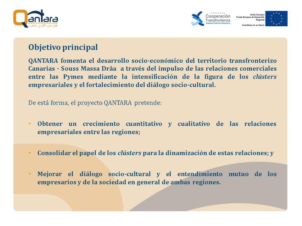 QANTARA fomenta el desarrollo socio-económico del territorio transfronterizo Canarias - Souss Massa Drâa a través del impulso de las relaciones comerciales entre las Pymes mediante la intensificación de la figura de los clústers empresariales y el fortalecimiento del diálogo socio-cultural.